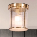 Colonial Cylindrical Ceiling Mounted Light Single Bulb Clear Prismatic Glass Flush Mount Light Fixture in Brass