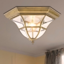 3-Light Clear Glass Flush Light Colonialist Brass Flared Bedroom Close to Ceiling Lighting