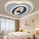 Modernist Heart Shaped Flush Lighting Acrylic LED Bedroom Ceiling Lamp in Grey and White