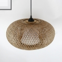 Asian Handwoven Hanging Ceiling Light Bamboo Shade Indoor Pendant Light for Resturant, 12