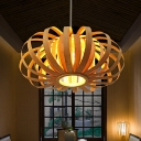 1-Light Oval Pendant Lighting Wooden Shade Nordic Style Hanging Lamp with Adjustable Cord, 18