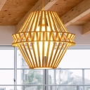 Bamboo Cage Pendant Light with Inner Fabric Shade 1 Head Chinese Style Restaurant Ceiling Hanging Light