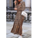 Special Fashion Long Sleeve V-Neck Leopard Print Stringy Selvedge Asymmetric Brown Pleated Maxi Flowy Dress for Women