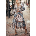 Ethnic Pretty Ladies' Blouson Sleeve V-Neck Floral Pattern Bow Tie Waist Ruffled Trim Maxi Flowy Boho Dress in Blue