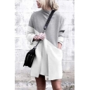 White Chic Women's Long Sleeve Mock Neck Pocket Contrasted Short Shift Tee Dress