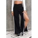 Casual Punk Girls' Elastic Waist Contrast Piped High Cut Side Long Baggy Wide Pants in Black