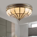 3/4-Bulb Opaline Glass Ceiling Flush Colonialism Brass Bowl Bedroom Flush Mount Lighting, 12.5