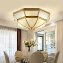 Brass Bowl Flush Mount Lighting Fixture Colonialist Opal Glass 3/4 Bulbs Bedroom Ceiling Chandelier, 14