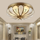 Beveled Glass Brass Ceiling Flush Scallop 3 Heads Colonialist Flush Mount Lamp for Bedroom