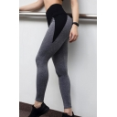 Women's Athletic Style High Waist Contrasted Cotton Stretch Ankle Length Skinny Sport Leggings in Grey