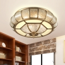 Brass 3/4 Lights Flush Mount Fixture Colonialism Curved Seedy Glass Oval Ceiling Mounted Light for Living Room