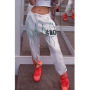 White Street Elastic Waist Drawstring SUCH Letter Flame Printed Cuffed Relaxed Fit Long Trousers for Jogger Girls
