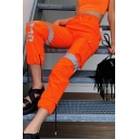 Fashion Street Girls' High Waist SURE Letter Contrasted Reflective Cuffed Tapered Fit Ankle Cargo Pants in Orange