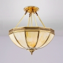 Frosted Glass Bowl Ceiling Lighting Colonial 3/4 Heads 14