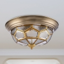 Colonialism Prism Ceiling Mount Light Fixture 3 Bulbs Frosted Glass Flush Mount Chandelier in Brass