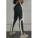 Women's Casual Gym High Rise Contrasted Piped Reflective Long Skinny Leggings in Black
