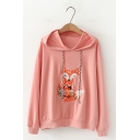 Womens Simple Fox Embroidery Pattern Long Sleeve Loose Drawstring Hoodie