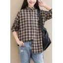 Womens Popular Checked Print Long Sleeve Button Down Oversized Cotton Shirt