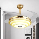 Tiered Ceiling Fan Lighting Modernism Acrylic LED Gold Semi Flush Mount for Bedroom, Wall/Remote Control/Frequency Conversion