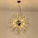 Red-Green/White Starburst Chandelier Lamp Modern 8/12 Heads Crystal Beaded Hanging Ceiling Light, 23.5
