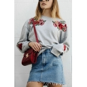 Womens Stylish Rose Embroidery Printed Long Sleeve Gray Pullover Sweatshirt