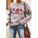 Womens Fashionable Ugly Christmas Santa Printed Long Sleeve Loose Fit Gray Pullover Sweatshirt