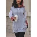 Womens Color Block Drawstring Hood Long Sleeve Gray Tunic Thin Hoodie