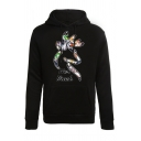 Matching Couple HER BUCK HIS DOE Printed Long Sleeve Black Classic Pullover Hoodie
