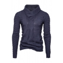 Mens Chic Solid Color Long Sleeve Cowl Neck Jacquard Knitting Pullover Sweater
