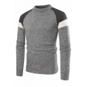 Mens Classic Crew Neck Colorblock Long Sleeve Slim Fit Gray Pullover Knitted Sweater