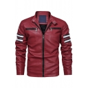 Colorblock Striped Long Sleeve Snap Button Stand Collar Zip Embellished Slim Fit PU Leather Jacket