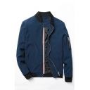Popular Whole Colored Long Sleeve Stand Collar Zip Placket Baseball Jacket
