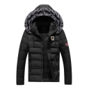 Mens Fashionable Black Long Sleeve Zip Up Casual Down Parka Coat Jacket with Fur-Trimmed Hood
