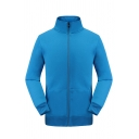 Mens Casual Simple Plain High Collar Long Sleeve Zip Placket Outdoor Sports Fleece Jacket