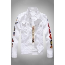 Mens Stylish Embroidered Letter Flag Logo Printed Long Sleeve Lapel Button Down Casual Slim Fitted Denim Jacket