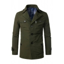 Mens Casual Solid Notch Lapel Long Sleeve Single Breasted Slim Fit Army Green Trench Coat