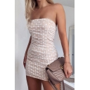 Womens Casual Polka Dot Printed Ruched Detail Slim Fit Apricot Mini Tube Dress for Evening Party