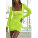 Womens Simple Backless Square Neck Long Sleeve Plain Club Wear Mini Bodycon Dress