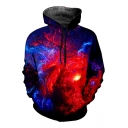 Blue and Red Fire Galaxy 3D Printed Long Sleeve Unisex Pullover Hoodie