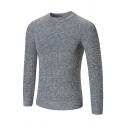 Casual Fashion Plain Long Sleeve Round Neck Slim Fitted Pullover Purl Knitted Sweater