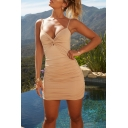 Womens Fashionable Plain Beige Ruched Twist Front Night Club Sexy Mini Strap Dress