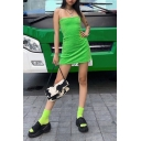 Womens Cool Chain Straps Green Mini Velvet Slip Dress for Club