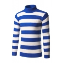 Mens Hot Fashionable Blue and White Striped Purl Knit Turtleneck Fitted Pullover Sweater