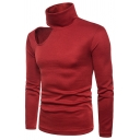 Mens Stylish Plain Cutout Shoulder Long Sleeve High Collar Slim Fit Pullover Sweater