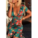 Stylish Floral Pattern Plunge V Neck Short Sleeve Lace Up Back Mini Nightclub Ruffle Dress in Green