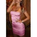 Womens Sexy Open Back Spaghetti Straps Plain Bandage Dress Mini Cami Dress