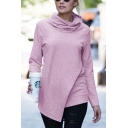 Womens Chic Solid Color Pile Collar Long Sleeve Slim Fit Irregular T-Shirt Top