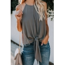 Womens Casual Halter Neck Knot Front Cutout Back Plain Chiffon Tank Sleeveless T-Shirt