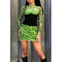 Ladies Creative Patterns Stringy Selvedge Trim Long Sleeve High Collar Green Mini Party Dress