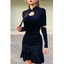 Womens Popular Mandarin Collar Cut Out Long Sleeve Plain Black Mini A-Line Ruffle Dress for Party